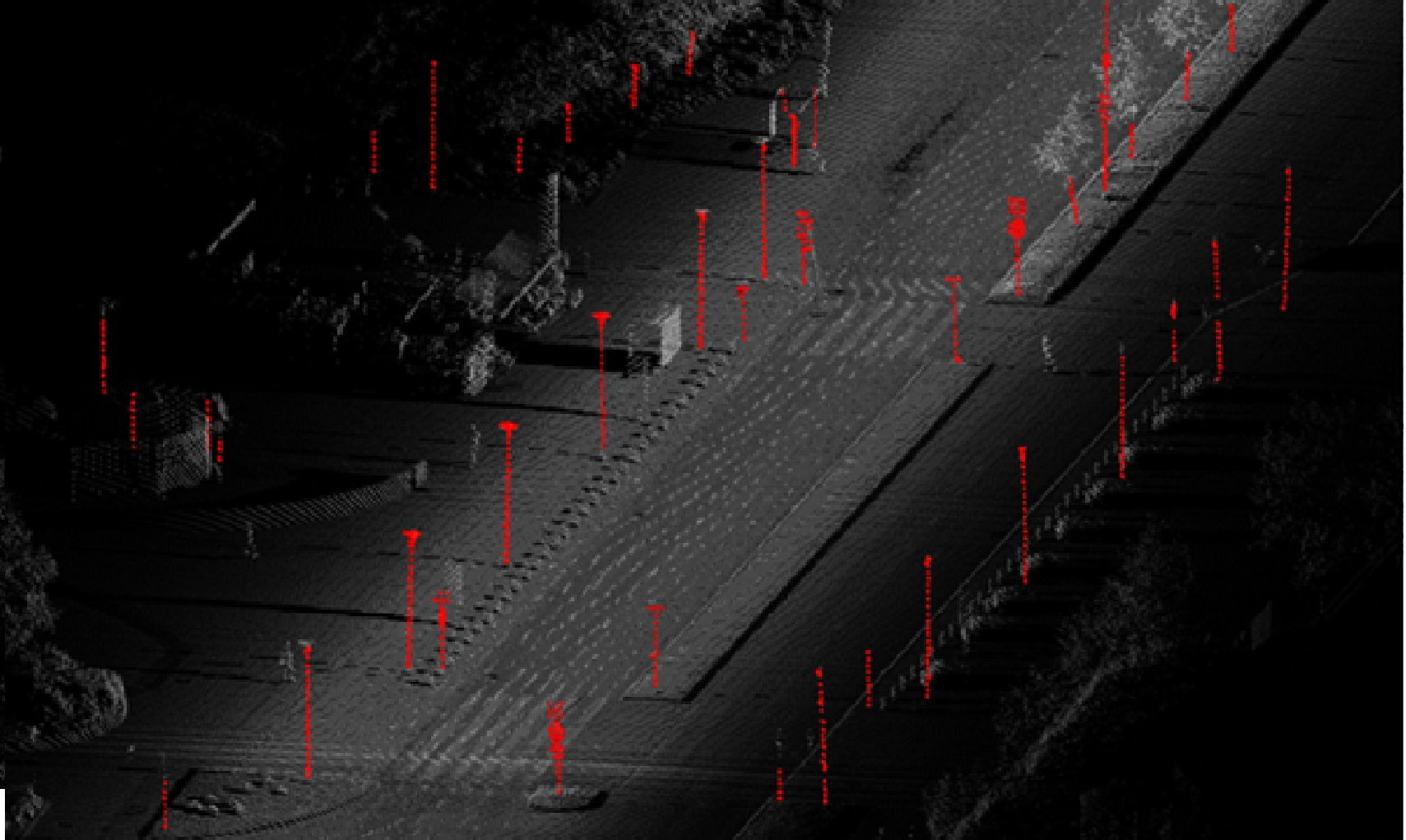 Point cloud of a road