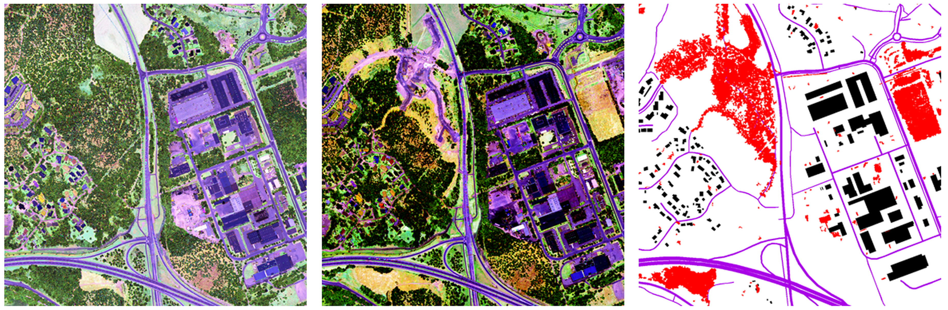 Intensity images from Optech Titan airborne laser scanner data from two dates and automatically detected changes presented in red colour with map data. Finnish Geospatial Research Institute FGI, The National Land Survey of Finland; Contains data from the National Land Survey of Finland Topographic database 2015.