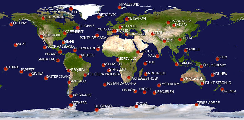 World map with DORIS stations