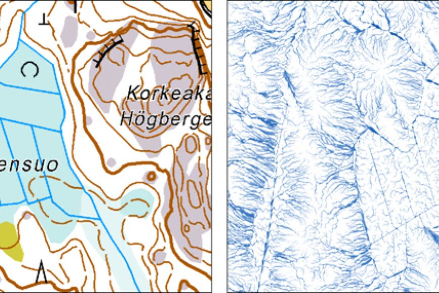 Topgraphic map on the left, height contours on the right.