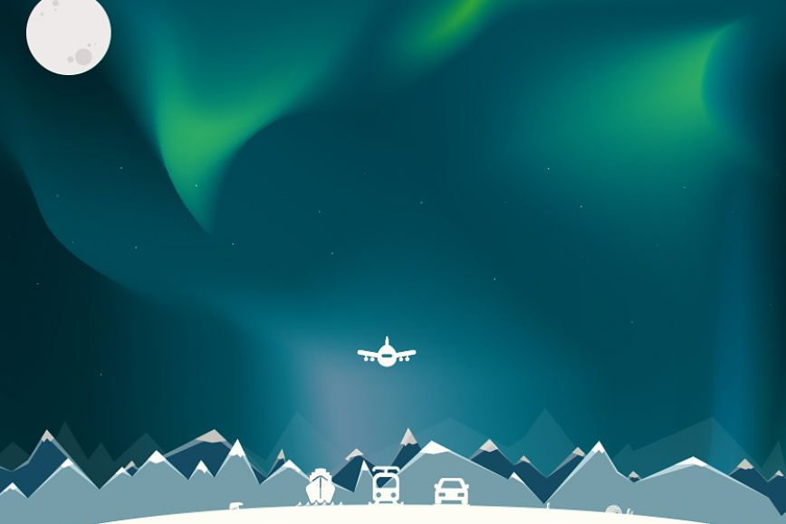 Arctic view, showing a car, a ship, an aeroplane and train.