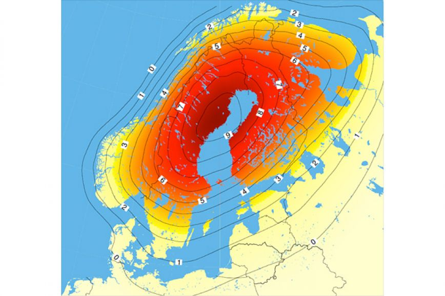 The picture shows the land uplift in Scandinavia. It is fastest in the Quark area, nearly 10 cm per 10 years.